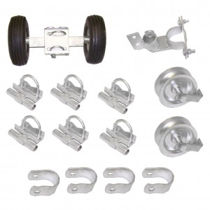 """Domestic Industrial Rolling Gate Hardware Kit with 10"""" Tires and 7"""" Rear Wheels"""