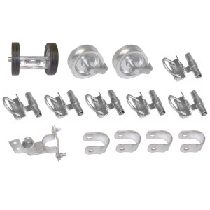 Domestic Rolling Gate Hardware Kit with Universal Clamp On Holders