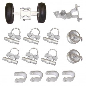 """Domestic Safety Industrial Rolling Gate Hardware Kit with 6"""" Tires and 7"""" Rear Wheels"""